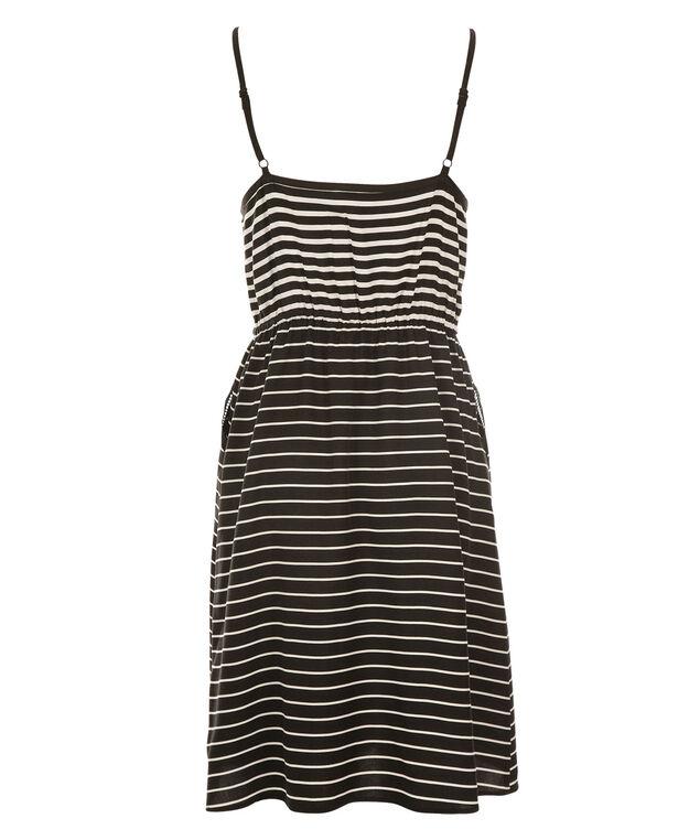 Striped Challis Dress, Black/White, hi-res
