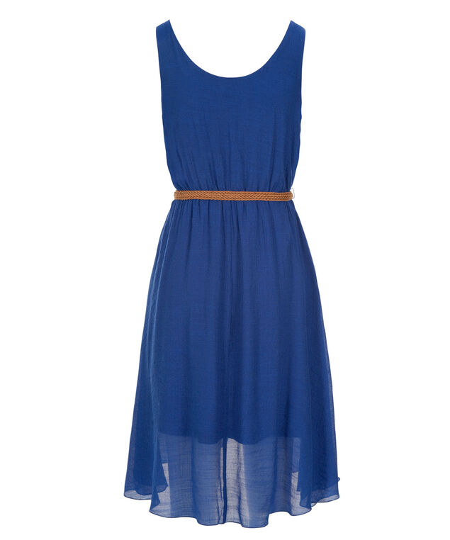High Low Gauze Dress, Marine Blue, hi-res