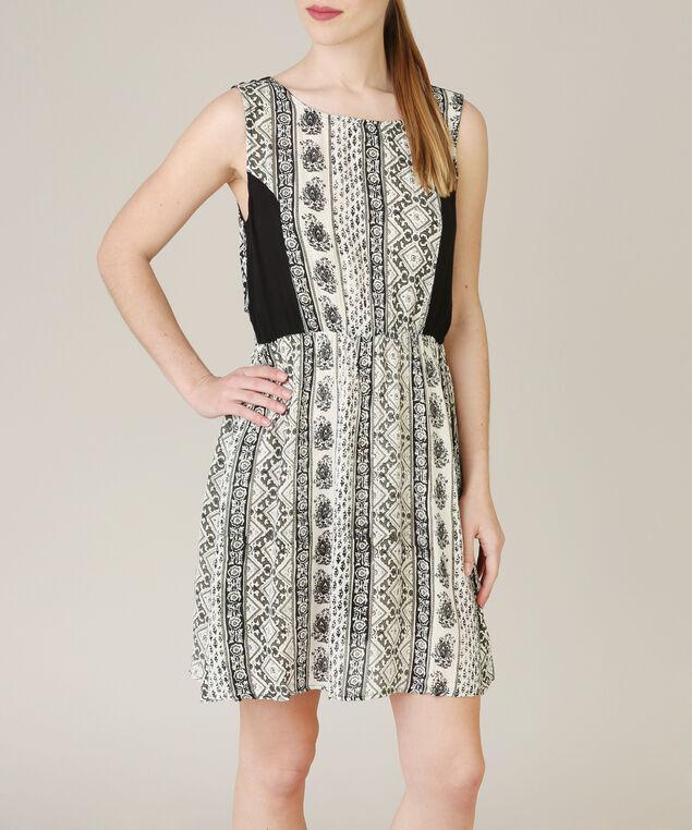 cream and black dress, WHITE/BLACK, hi-res
