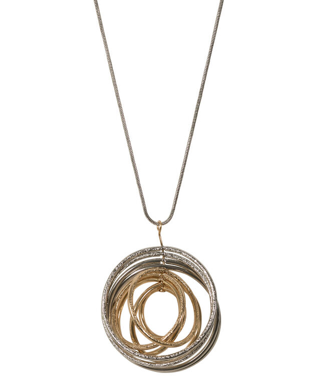 Mixed Metal Multi Hoop Necklace, Rhodium/Soft Gold, hi-res