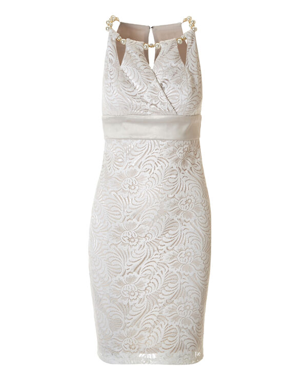Ivory Lace Halter Shift Dress, Ivory, hi-res