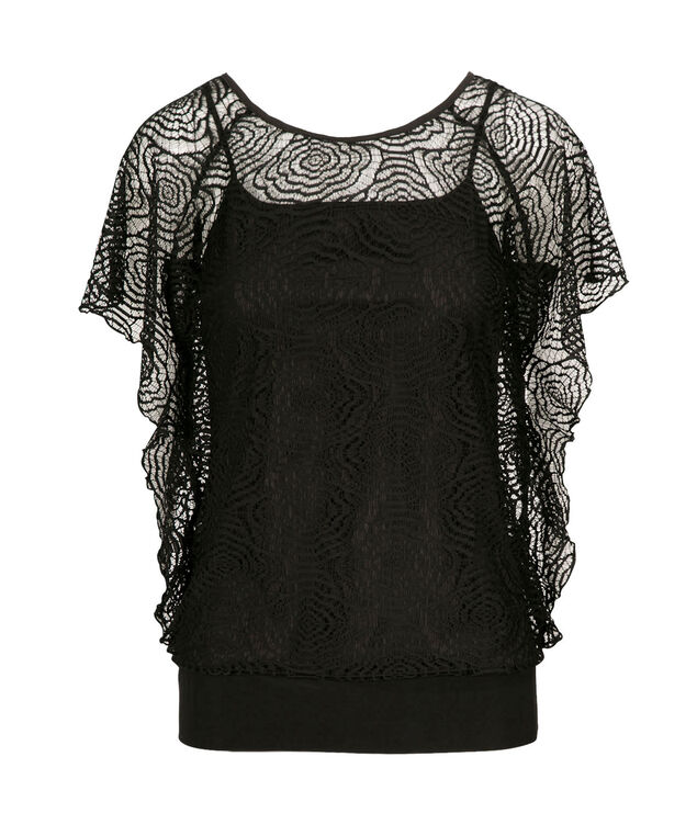 Crochet Overlay Dolman Top, Black, hi-res