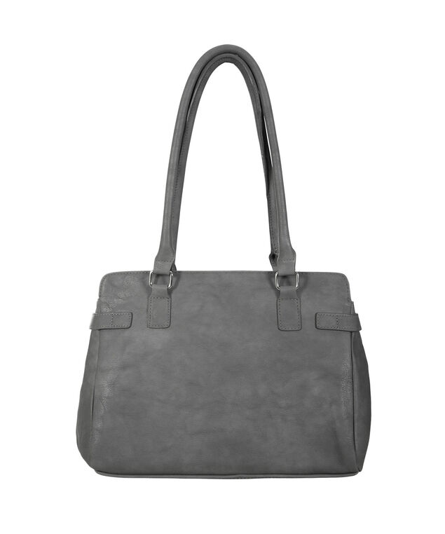Geo Hardware Satchel Bag, Dark Grey, hi-res
