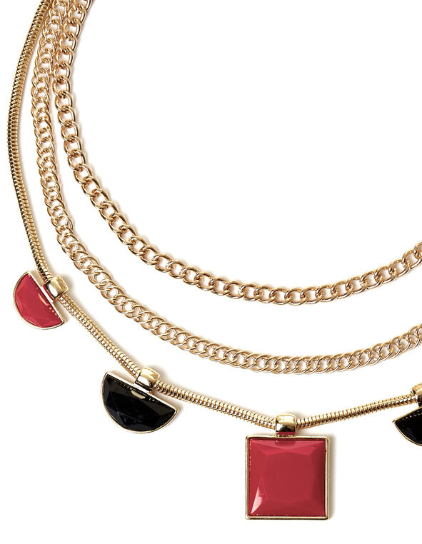 Multi Strand Necklace, Gold/Black/Red, hi-res