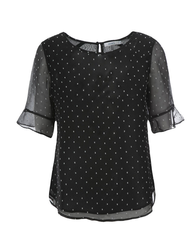 Two Layer Swiss Dot Top, Black, hi-res