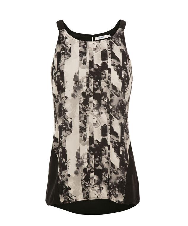 Broken Floral Tank, Black/White Print, hi-res