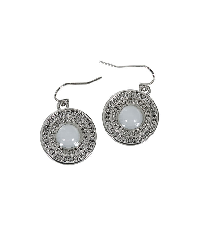 Textured Circle Glitter Earring, White/Rhodium, hi-res