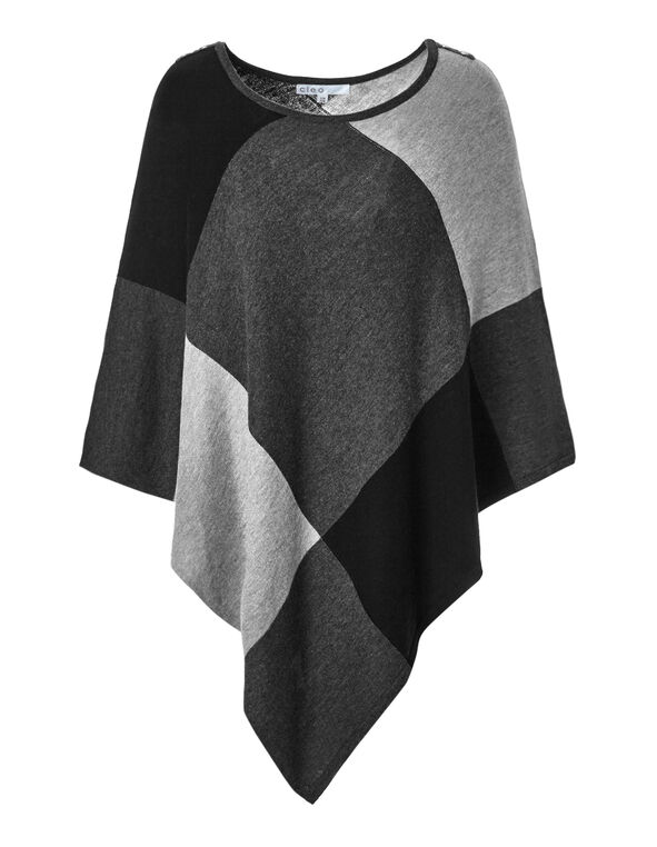 Grey Button Poncho Sweater, Light Grey/Charcoal/Dark Grey, hi-res