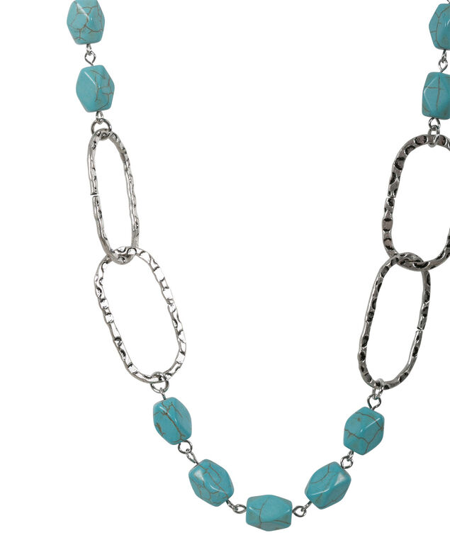 Ring & Stone Necklace Set, Turquoise/Burnished Silver, hi-res