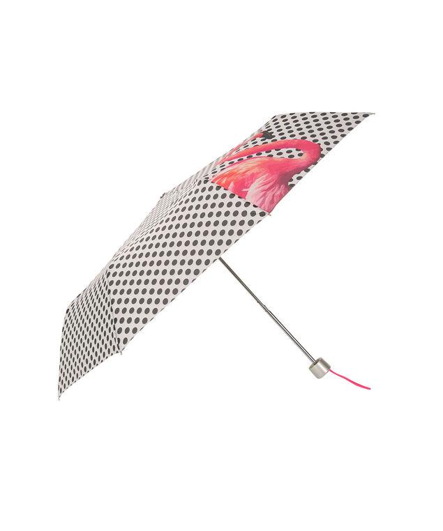 Flamingo Polka Dot Umbrella, Pink/Black/White, hi-res