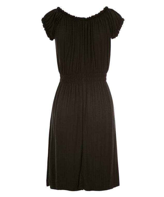 Smocked Waist Dress, Black, hi-res