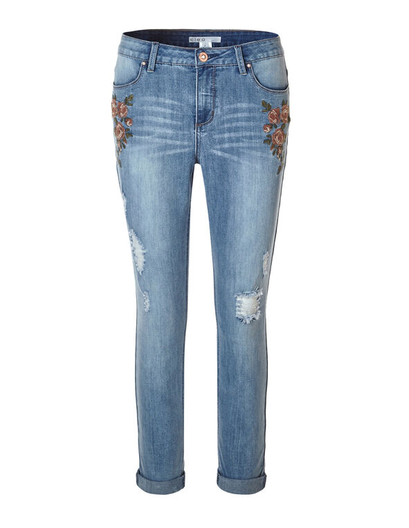Every Body Embroidered Ankle Jean, Bleach Wash, hi-res