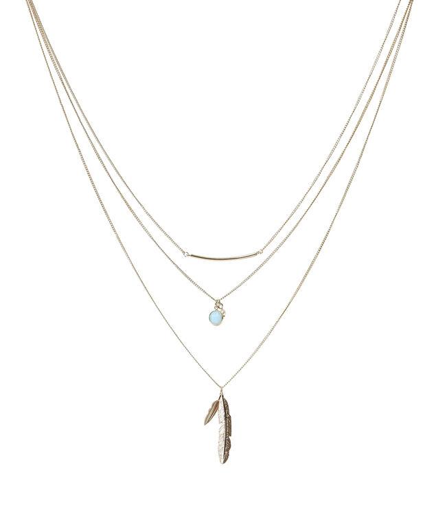 three strand mixed pendant necklace, GOLD, hi-res