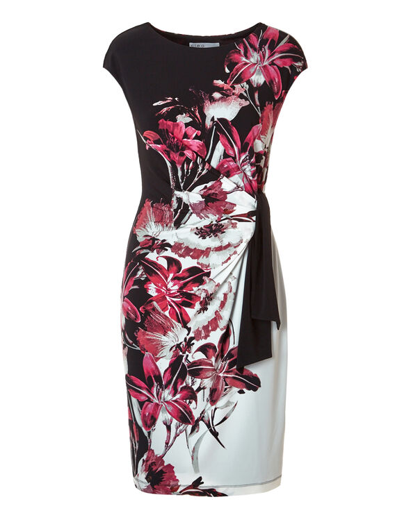 Pink Floral Side Tie Dress, Black/White/Pink/Red, hi-res