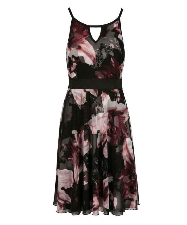 Keyhole Mesh Dress, Pink/Black/Burgundy Print, hi-res