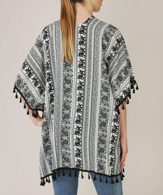 elephant print kimono, BLACK/WHITE, hi-res