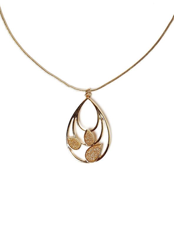 Gold Glitter Teardrop Necklace, Gold, hi-res
