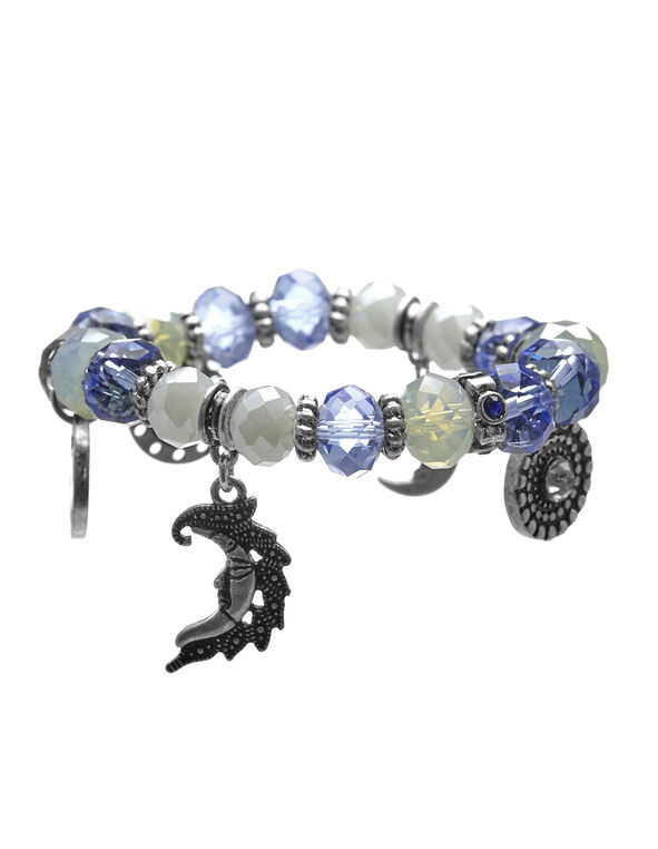 Blue Bead Stretch Bracelet, Silver/Blue, hi-res
