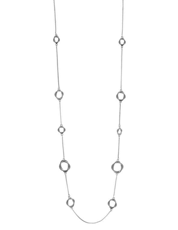 Long Silver Knotted Chain Necklace, Silver, hi-res