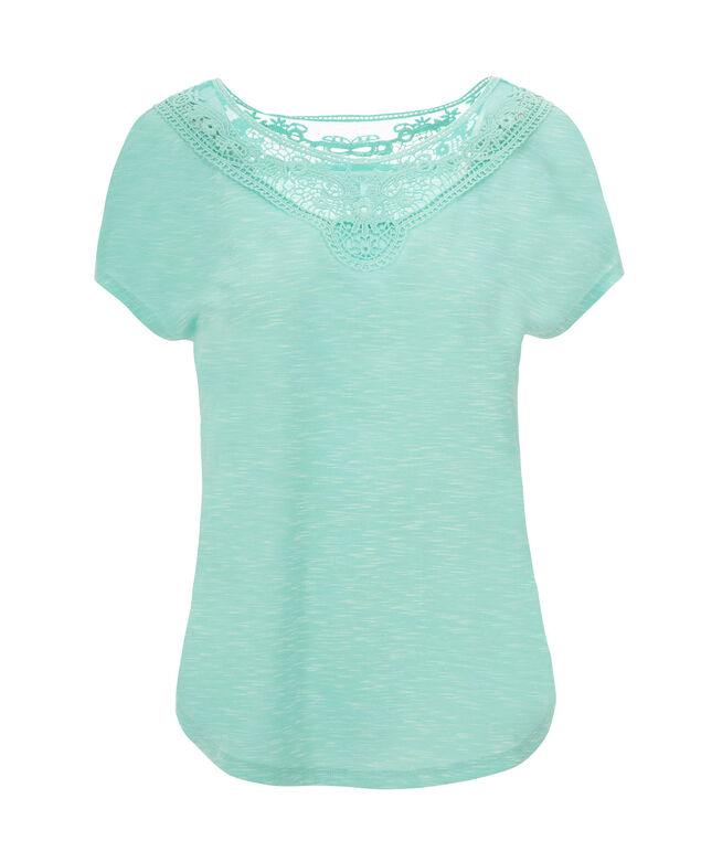 Short Sleeve Crochet Yoke, Soft Mint, hi-res