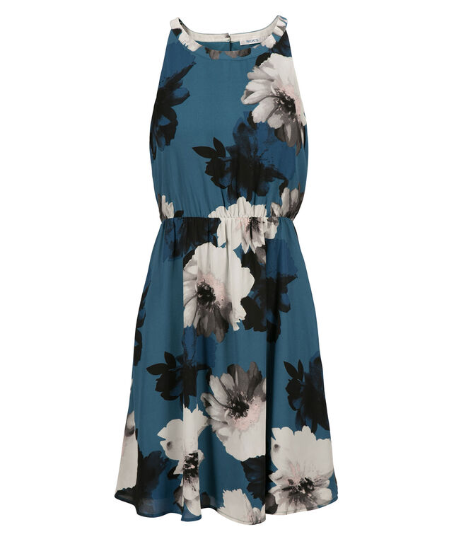 Blouson Floral Dress, Teal Print, hi-res