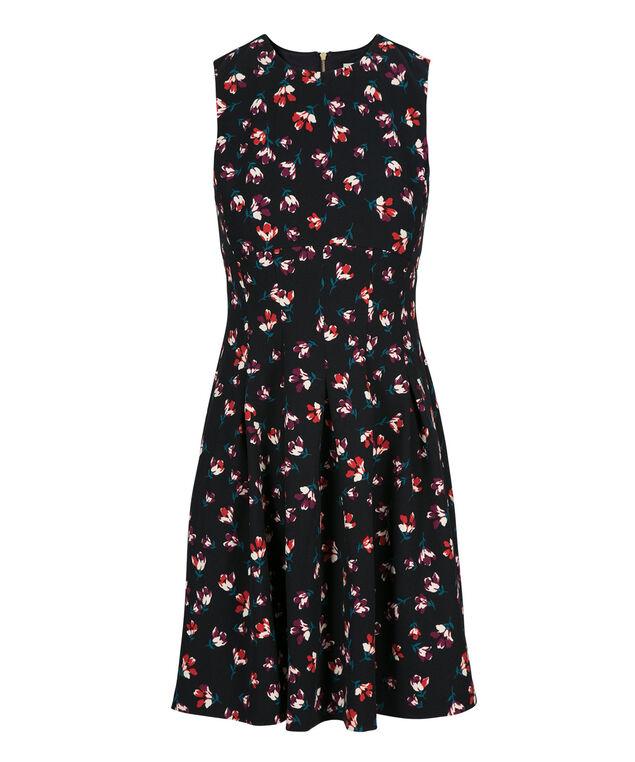 Princess Seam Scuba Dress, Navy Print, hi-res