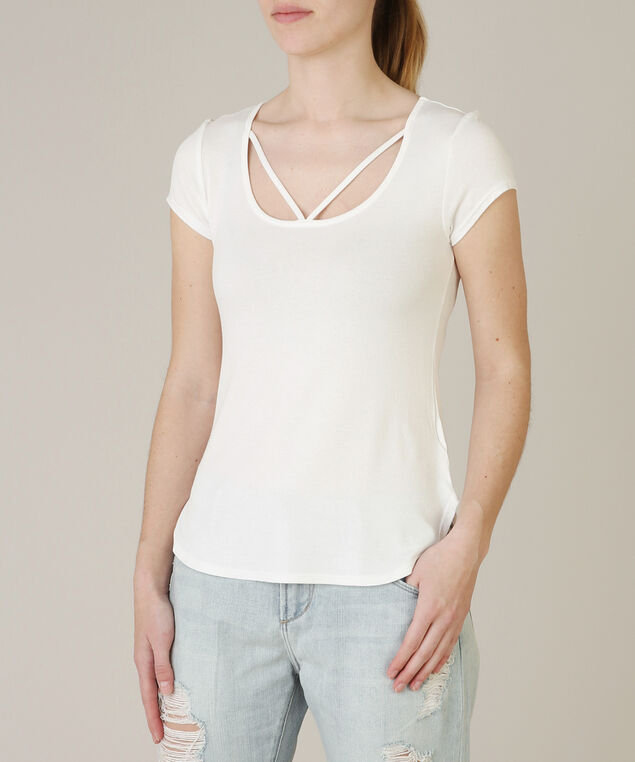cap sleeve strap front tee - wb, IVORY, hi-res