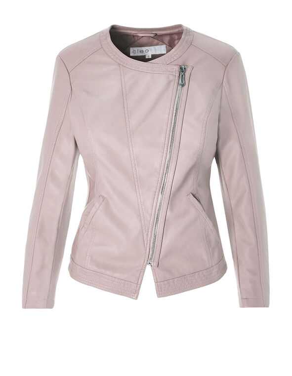 Soft Pink Pleather Jacket, Soft Pink, hi-res