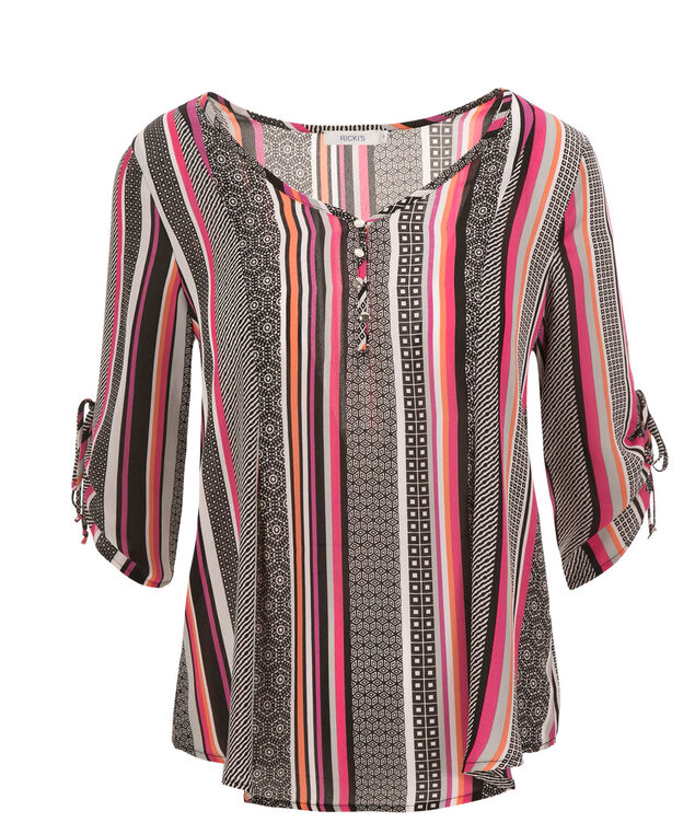 3/4 Sleeve Ruched Henley, Pink/Orange Print, hi-res