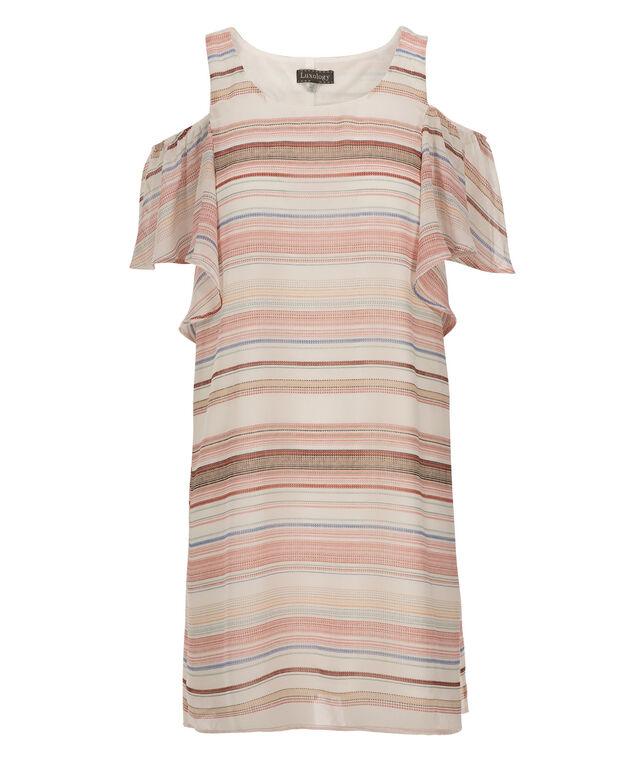 Luxology Cold Shoulder Stripe Dress, Ivory/Rose, hi-res