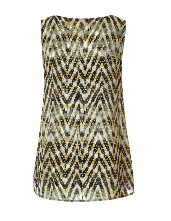 Aztec Chiffon Fly Away Top, Olive/Yellow/Black, hi-res