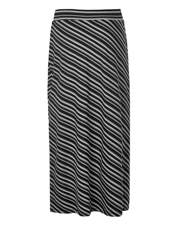 Black Stripe Maxi Skirt, Black/White, hi-res