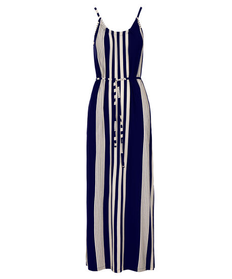Vertical Stripe Maxi Dress, White/Navy Stripe, hi-res