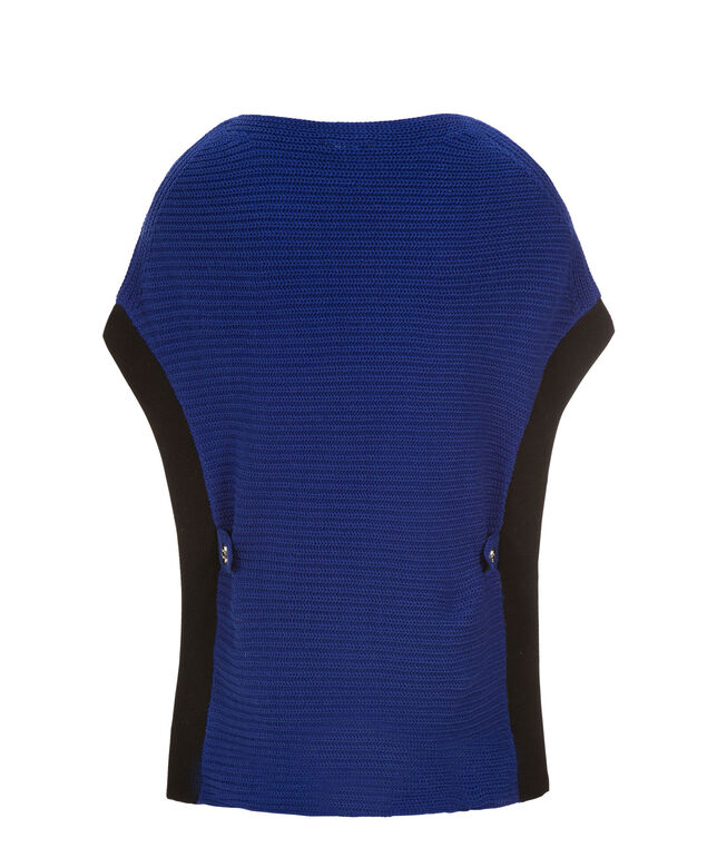Ribbed Poncho, Royal Blue, hi-res