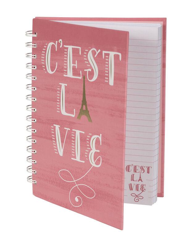 Cest La Vie Notebook, Pink/White, hi-res