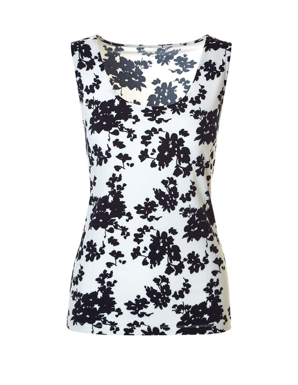 Floral Essential Layering Top, Ivory/Navy, hi-res