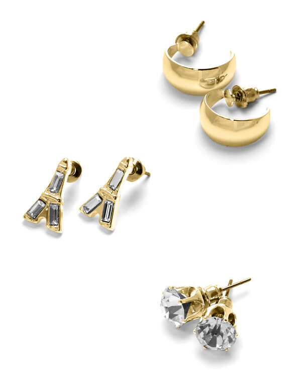 Gold Eiffel Tower Earring Set, Gold, hi-res