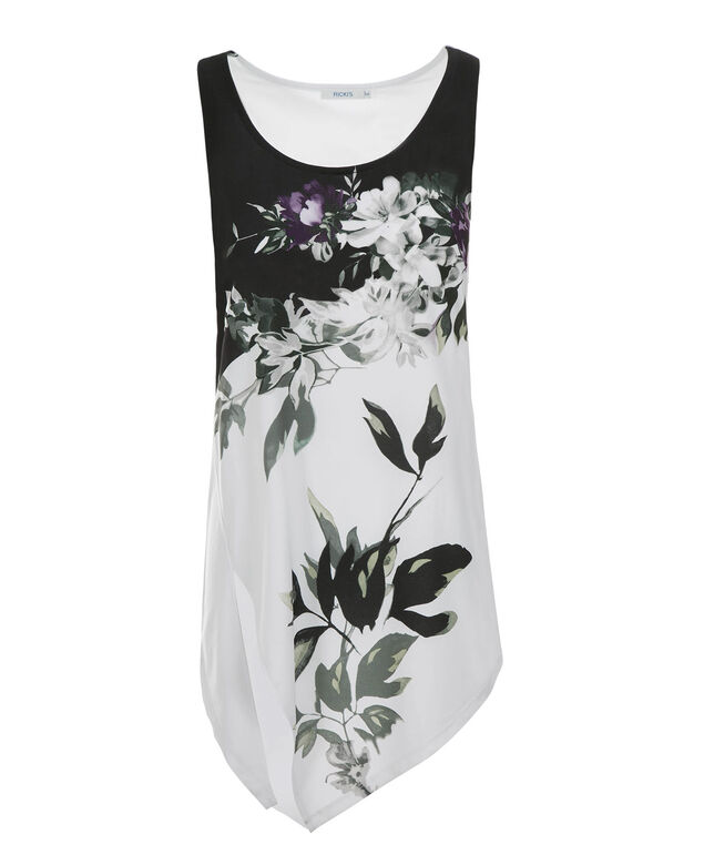 Asymmetrical Hem Floral Tank, Deep Violet Print, hi-res