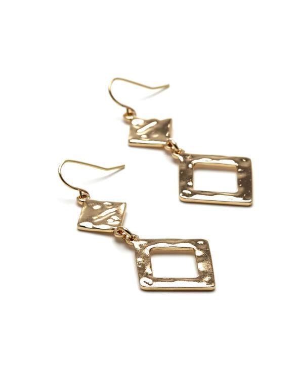 Textured Gold Drop Earring, Gold, hi-res