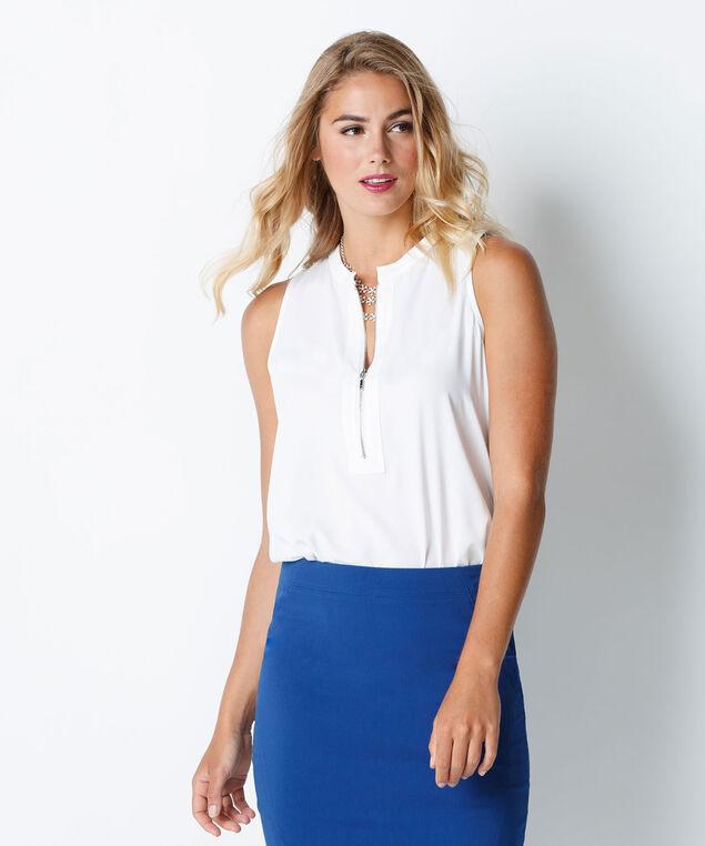 Zip Front Knit Tank, True White, hi-res
