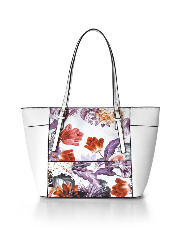 Purple Floral Tote Handbag, White/Purple/Peony, hi-res