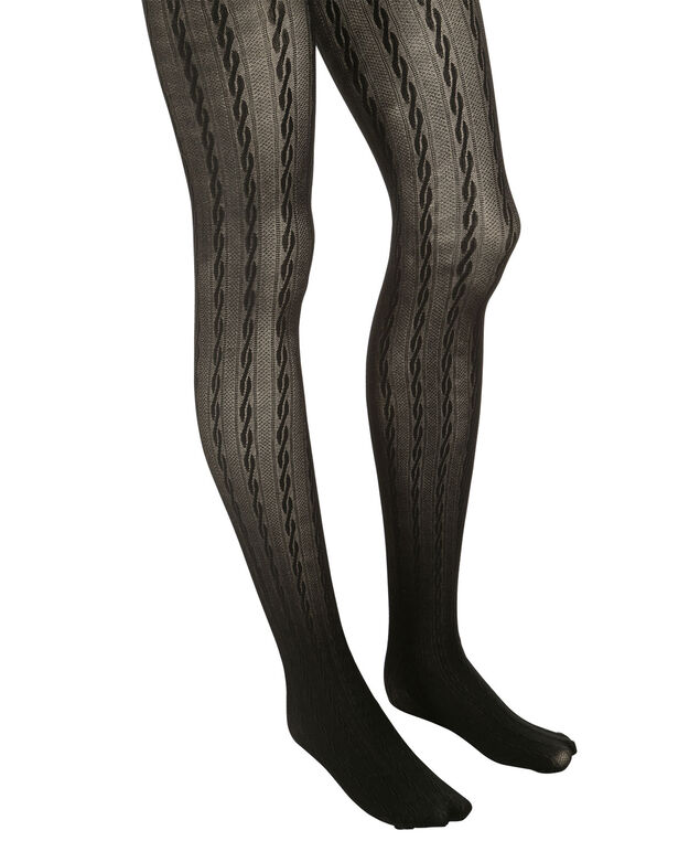 Cable Tights, Black, hi-res