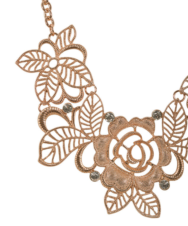 Floral Metal Statement Necklace, Rose Gold, hi-res