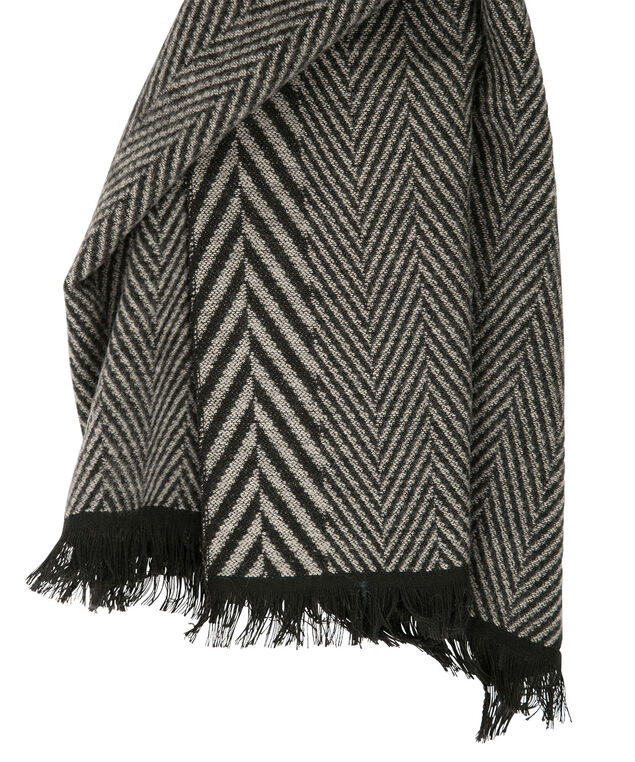 Herringbone Blanket Scarf, Grey/Black, hi-res