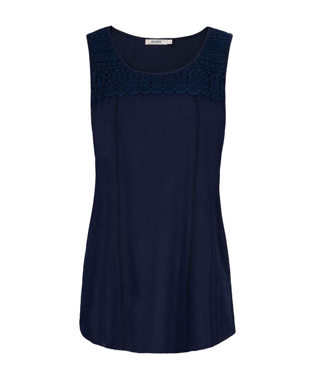 Crochet Shirt Tail Tank, Sapphire, hi-res