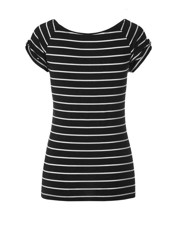 Black Stripe Button Sleeve Tee, Black/White, hi-res