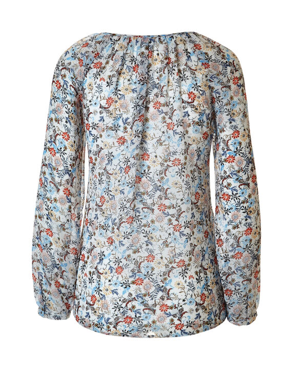 White Print Peasant Blouse, White/Olive/Blue/Black, hi-res
