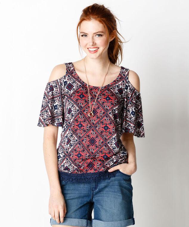 Crochet Trim Cold Shoulder, Burnt Coral Print, hi-res