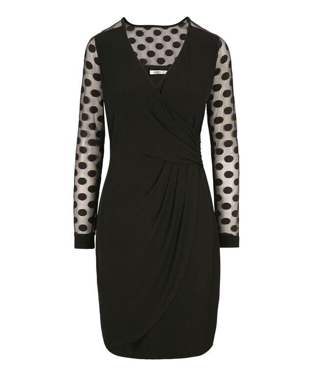 Polka Dot Sleeve Wrap Dress, Black, hi-res