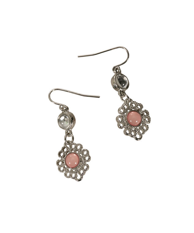 Textured Flower Earring, Soft Coral/Rhodium, hi-res
